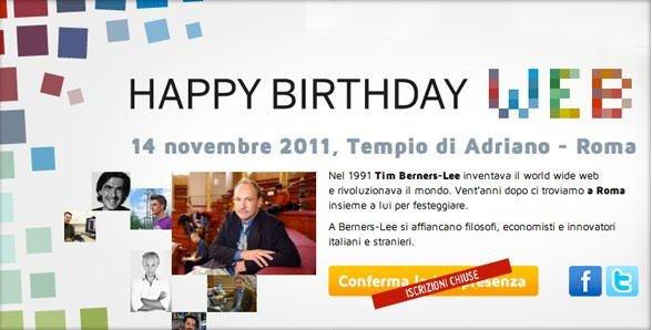 Happy Birthday Web 2011: live al tempio di Adriano, Roma