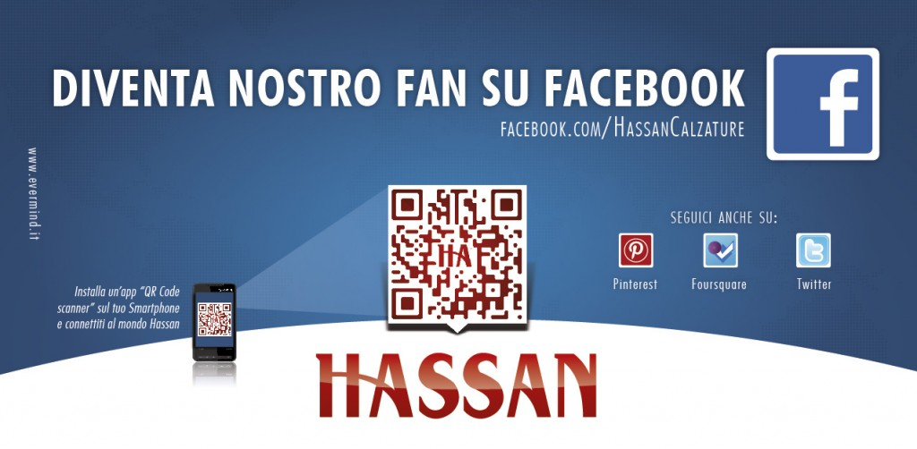Creare un QR code per aprire app Facebook Hassan Cartolina fan facebook retro