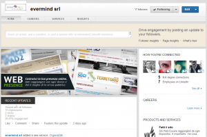 linkeding pagina aziendale: homepage