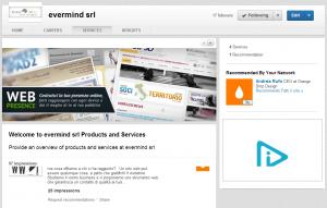 linkedin pagina aziendale: pagina servizi e prodotti