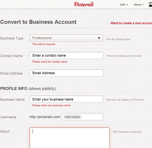 pinterest profilo business - datti account