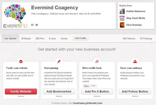 Pinterest profilo Business verifica sito web