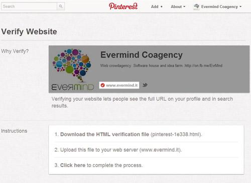 Pinterest profilo Business - step validazione sito web