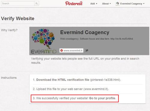 Pinterest profilo Business - conferma validazione sito web