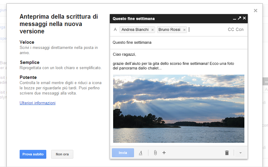 Gmail avviso nuova interfaccia scrittura messaggi