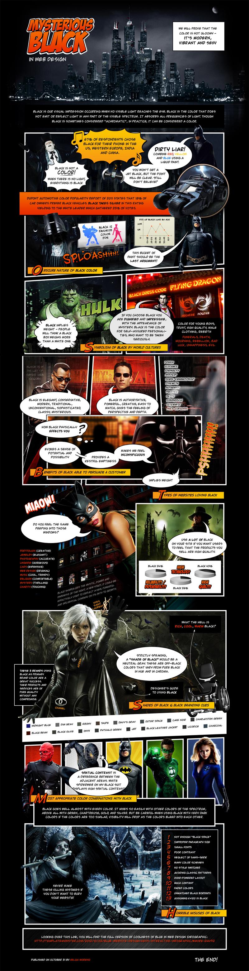 il nero nel web design - infografica