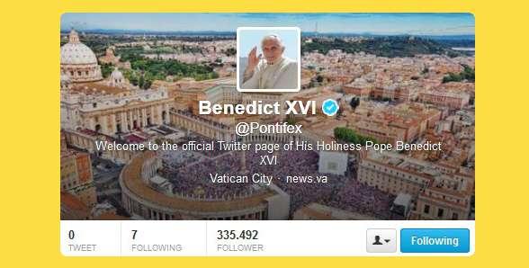 Il profilo Twitter del Papa