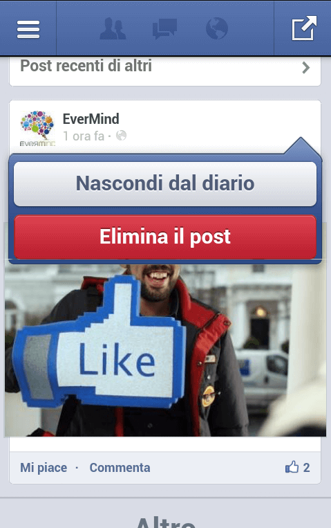 Facebook App Android - eliminazione post 02