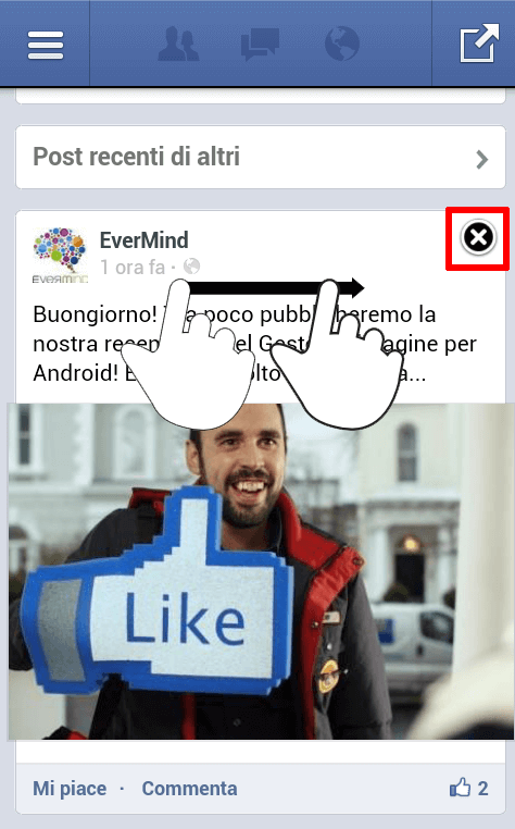 Facebook App Android - eliminazione post