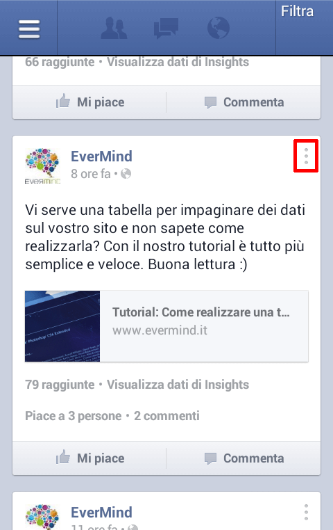 Gestore Pagine Facebook Android - menu post