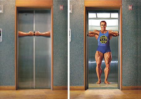 Gym Advertising elevator muscle