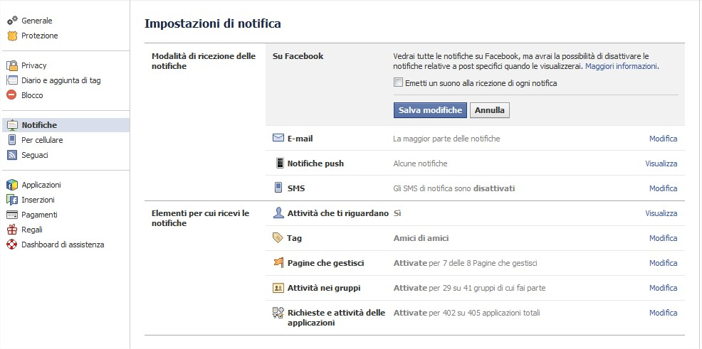Come disabiitare suoni notifiche facebook 02