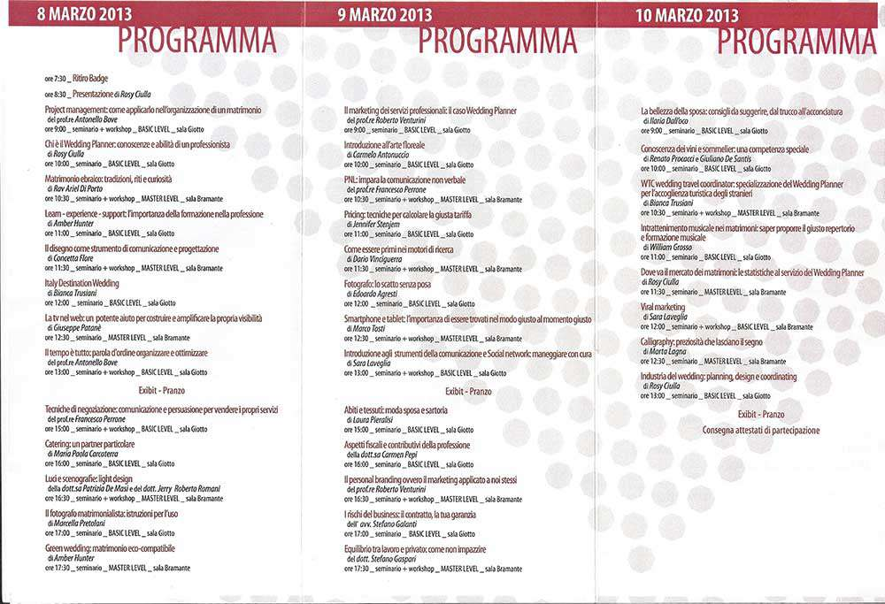 Convention Internazionale Wedding Planner 2013 Programma