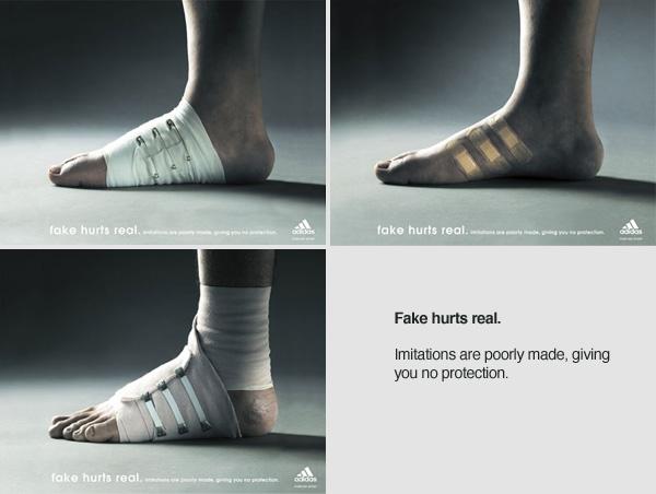 Adidas: finto ferito reale